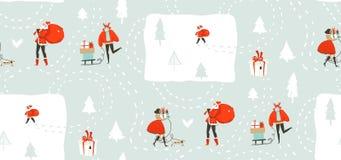 手拉的与走在冬天的人的传染媒介摘要乐趣圣诞快乐时间动画片例证无缝的样式 免版税图库摄影