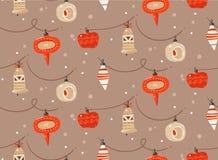 手拉的与逗人喜爱的传染媒介摘要乐趣圣诞快乐和新年快乐时间动画片土气欢乐无缝的样式 向量例证