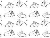 手拉的与逗人喜爱的墨水毛笔画例证无缝的样式的传染媒介摘要图表象设计元素  库存照片