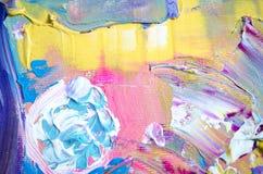 手拉的丙烯酸酯的绘画 抽象派背景 在帆布的丙烯酸酯的绘画 颜色纹理 艺术品的片段 绘画的技巧 库存照片
