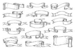 手拉的丝带 葡萄酒海报商标请帖的,减速火箭的纹章学丝带剪影元素 传染媒介漩涡 库存例证