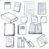手拉的书、文件、笔记本和纸片 免版税库存照片