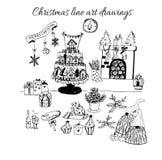 手拉的乱画传染媒介 圣诞节在黑色的线艺术图画 树、圣诞老人和字法,冷杉分支,装饰品 免版税库存图片