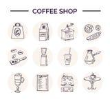手拉的乱画咖啡店集合 免版税库存照片