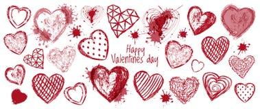 手拉的乱画心脏横幅,情人节 免版税图库摄影