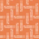 手拉的乱画正方形塔式大楼在宽敞抽象设计的 在橙色背景的无缝的传染媒介样式 皇族释放例证