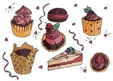 手拉的乱画甜点和蛋糕 也corel凹道例证向量 皇族释放例证