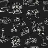 手拉的乱画电子游戏无缝的样式 免版税库存图片