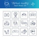 手拉的乱画虚拟现实集合 库存图片