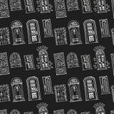 手拉的乱画门无缝的样式 免版税库存图片