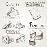 手拉的乱画剪影乳酪以不同 免版税库存照片