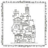 手拉的乱画房子 免版税库存照片