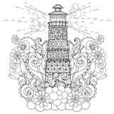 手拉的乱画概述灯塔boho 免版税库存照片