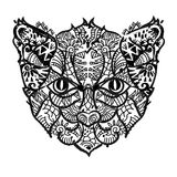 手拉的乱画概述猫头 免版税库存图片