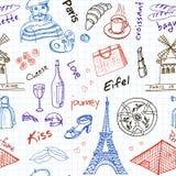 手拉的乱画法国标志无缝的样式 向量例证