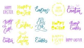 手拉的了不起的套愉快的复活节天标志 绿色,紫罗兰色黄色紫色手的大收藏速写了 复活节兔子象 皇族释放例证