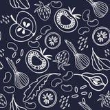 手拉的二进制无缝的样式用水果和蔬菜表面设计的 健康食物题材 皇族释放例证