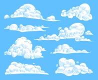 手拉的云彩 剪影多云天空,葡萄酒被刻记的卷曲的云彩 乱画自然天堂,概述天气符号 向量例证