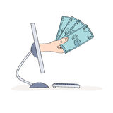 手拉的互联网收入概念 库存例证
