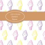 手拉的五颜六色的冰淇凌样式 免版税库存照片