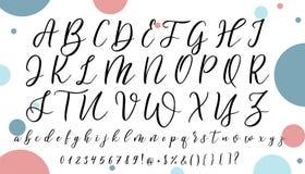 手拉的传染媒介字母表 您的设计的书法信件 库存图片