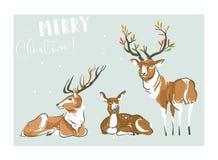 手拉的传染媒介摘要乐趣圣诞快乐时间动画片例证收藏设置了与许多鹿和raindeers 皇族释放例证