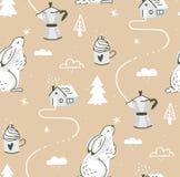 手拉的传染媒介摘要动画片斯堪的纳维亚圣诞节室外风景无缝的样式用兔子,咖啡,杯子 免版税库存照片
