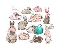 手拉的传染媒介摘要墨水剪影图解图画斯堪的纳维亚愉快的复活节简单的兔宝宝例证收藏 皇族释放例证
