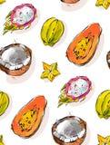 手拉的传染媒介摘要徒手画构造了异常的无缝的样式用异乎寻常的热带水果番木瓜,龙果子 图库摄影