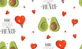 手拉的传染媒介摘要现代动画片愉快的情人节概念例证无缝的样式用鲕梨 免版税库存图片