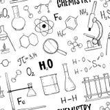 手拉的传染媒介无缝的样式 化学,化学元素 图库摄影
