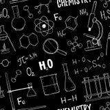 手拉的传染媒介无缝的样式 化学,化学元素 免版税库存照片