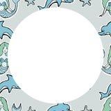 手拉的传染媒介逗人喜爱的美人鱼,海豚,星 框架 对texti 免版税图库摄影