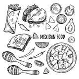 手拉的传染媒介例证-墨西哥食物(炸玉米饼,烤干酪辣味玉米片, b 免版税图库摄影