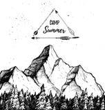 手拉的传染媒介例证-夏令营 山和前面 向量例证