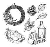 手拉的传染媒介例证-家庭甜家 背景设计要素空白四的雪花 免版税库存照片
