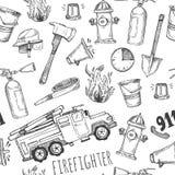 手拉的传染媒介例证-消防队员 无缝的模式 免版税图库摄影