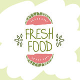 手拉的传染媒介元素 新鲜的食物 徽标 能为广告使用 库存图片