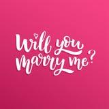手拉的传染媒介刷子字法您是否与我结婚? 图库摄影