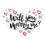 手拉的传染媒介刷子字法您是否与我结婚? 免版税库存照片