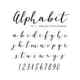 手拉的传染媒介字母表 剧本字体 被隔绝的信件写与标志或墨水 字法 图库摄影