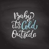 手拉的传染媒介字法婴孩它是冷的外部 加州 库存照片