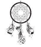 手拉的传染媒介当地美洲印第安人护符dreamcatcher w 免版税图库摄影