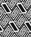 手拉的传染媒介摘要徒手画构造了与斑马主题,有机纹理,三角的无缝的样式拼贴画 皇族释放例证