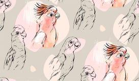 手拉的传染媒介摘要构造了与异乎寻常的热带鹦鹉的图表无缝的样式拼贴画在淡色 向量例证