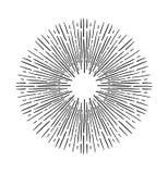 手拉的传染媒介葡萄酒元素-破裂光芒的旭日形首饰 库存例证