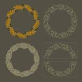 手拉的传染媒介集合圆的花卉葡萄酒框架 库存例证