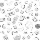 手拉的传染媒介食物无缝的样式 库存照片