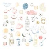 手拉的传染媒介食物集合 免版税库存照片