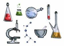 手拉的例证套动画片化学制品工具 库存例证